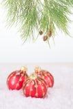 Roter Weihnachtsflitter und Kieferniederlassung mit Schneeflocken Lizenzfreies Stockfoto
