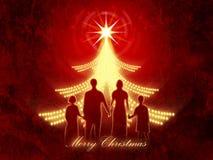 Roter Weihnachtshintergrund mit Familie Stockfotografie
