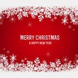 Roter Weihnachtshintergrund mit Schneeflocken Lizenzfreie Stockfotos