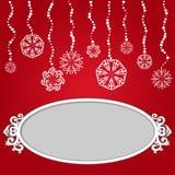 Roter Weihnachtshintergrund mit Schneeflocken und leeren sich Stockfoto