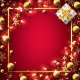 Roter Weihnachtshintergrund verziert im Gold lizenzfreie abbildung