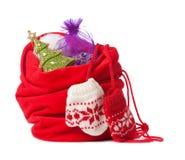 Roter Weihnachtssack getrennt Lizenzfreies Stockbild