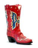 Roter WeinleseCowboystiefel Stockfoto