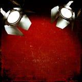 Roter Weinlesehintergrund mit Reflektoren Stockfotografie