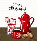Roter Weinlesekaffeetopf mit Schale Die Körner des Kaffees werden auf einer Tabelle verschüttet stock abbildung