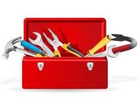 Roter Werkzeugkasten mit Hilfsmitteln Stockfotos