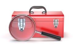 Roter Werkzeugkasten mit Lupe Lizenzfreie Stockfotografie
