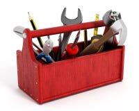 Roter Werkzeugkasten voll Handwerkzeuge Stockfotos