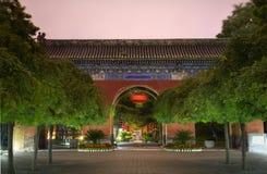 Roter Westhimmels-Gatter-Laterne-Tempel Sun Peking Stockbilder