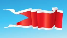 Roter Wimpel mit weißen Bändern. Lizenzfreie Stockbilder