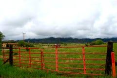 Roter Zaun auf dem Gebiet Lizenzfreies Stockbild