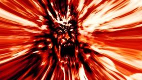 Roter Zombiekopf der Raserei Bild im Genre des Horrors Stockfoto