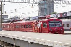 Roter Zug Aeroexpress -- ist der Betreiber von Luft-Bahnnetzservicen in Moskau, Russland Lizenzfreies Stockbild