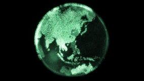 Rotera digital jord för den futuristiska partikeln med ljusa kontinenter som göras från PIXEL vektor illustrationer