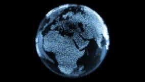 Rotera digital jord för den futuristiska partikeln med ljusa kontinenter som göras från PIXEL stock illustrationer