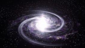Roterande djup utforskning av rymden för spiralgalax Natthimmel med massor av stjärnor Sömlös ögla