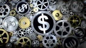 Roterande dollarvaluta undertecknar in kugghjulenheten med det olika valutatecknet
