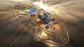 Roterande för zodiakhoroskop för mystiker guld- symbol med tolv planeter 3D som framför 4k royaltyfri illustrationer
