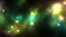 Roterande fluga in mot nebulosastjärnasystem i kosmisk galaxhimmelbakgrund med att blinka stjärnabakgrund - utrymmelopp eller exp arkivfilmer