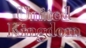 Roterande glass Förenade kungariket överskrift mot att vinka den brittiska flaggan framförande 3d Fotografering för Bildbyråer