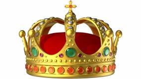 Roterande guld- kunglig krona stock illustrationer