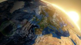 Roterande jord med soluppgång - Europa vektor illustrationer