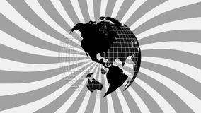 Roterande jordklot mot svartvit hypnotisk spiral royaltyfri illustrationer