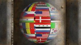 Roterande jordklot som göras av nationsflaggor