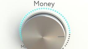 Roterande knopp med pengarinskriften begreppsmässigt framförande 3d Arkivbild