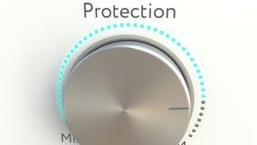 Roterande knopp med skyddsinskriften begreppsmässigt framförande 3d Arkivbild