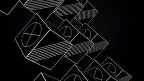 Roterande kubanimering - kretsa Roterande kuber för animering av vita linjer på svart bakgrund royaltyfri illustrationer