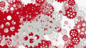 Roterande kugghjul i vitt och rött på vit stock illustrationer