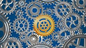 Roterande metallkugghjulögla vektor illustrationer