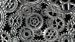 Roterande metallkugghjulögla stock illustrationer