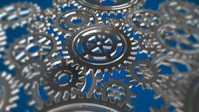 Roterande metallkugghjulögla royaltyfri illustrationer
