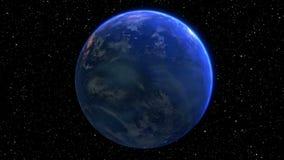 Roterande planetjord i utrymme sömlös ögla - 3D framför lager videofilmer