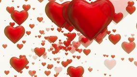 Roterande röda hjärtor på vit stock illustrationer