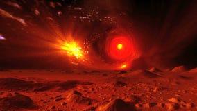 Roterande stjärnatunnel i himmelfrämlingplaneten lager videofilmer