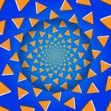 Roterande trianglar, optisk illusion, vektorillustration. vektor illustrationer