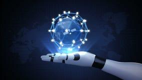 Roterend aarde, verbind het pictogram van de ideebol communicatietechnologie, de kaart van de netwerkwereld op robotwapen stock footage
