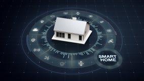 Roterend slim huis, rond divers Internet van de toestellenpictogram van het dingenhuis royalty-vrije illustratie