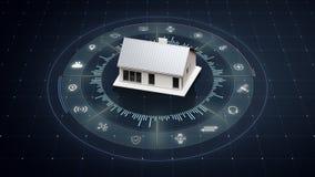 Roterend slim huispictogram, rond divers Internet van de toestellenpictogram van het dingenhuis royalty-vrije illustratie