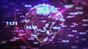 Roterende Aarde en vliegende cijfers - Technologie achtergrondlijn stock illustratie
