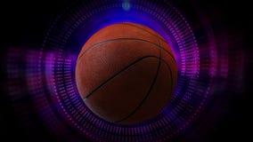 Roterende Basketbalbal als 3d Geanimeerde de Grafiekachtergrond van de Sportenmotie in volledige HD vector illustratie
