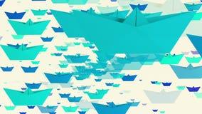 Roterende document boten in blauwe kleuren op wit stock videobeelden