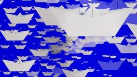 Roterende document boten in witte kleur op blauw royalty-vrije illustratie