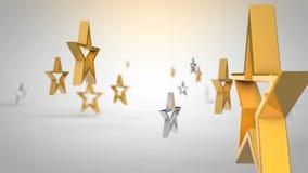 Roterende gouden sterren stock videobeelden