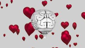 roterende hersenen met het drijven hartimpulsen royalty-vrije illustratie