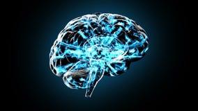 Roterende menselijke die hersenen elektrisch met gedachte worden belast - Uitwisseling van ideeën 101 HD stock illustratie