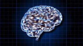 Roterende menselijke die hersenen elektrisch met gedachte worden belast - Uitwisseling van ideeën 102 HD stock footage